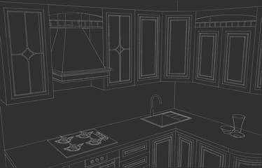 Close up of a kitchen counter with framed cabinets and decorative shelving. Outline drawing on a black background.