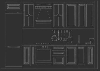 Classical kitchen facade with elegant cabinetry details. Layout on a black background.