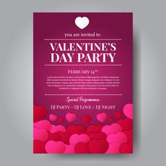 Valentine's party invitation poster . Love romance feminine. Vector illustration