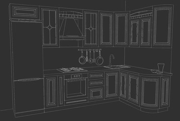 Architectural drawing of a classical L-shaped kitchen. White lines on a black background.