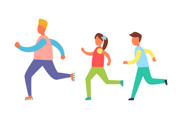 Running People Set, Isolated Vector Cartoon Icon