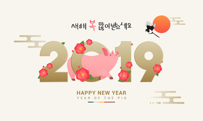 "Seollal (Korean lunar new year) vector illustration. 2019 with cute pig and Camellia flowers. Korean Translation: "" Happy New Year """