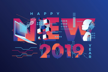 Happy New 2019 Year vector graphics in science engineering theme with humanoid robot
