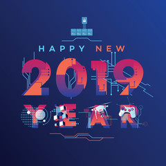 Futuristic Happy New 2019 Year graphics with technology and robotics themed letters and icons
