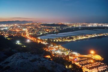 Cagliari city panorama at night