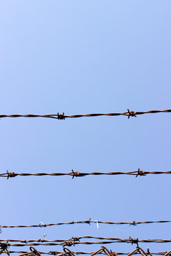 Barbed wire with blue sky