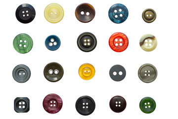 Set of various vintage sewing buttons isolated on white background