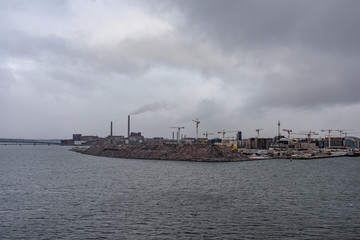 View Helsinki from sea, in winter time