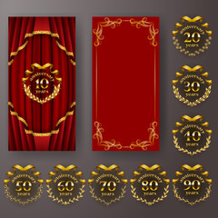 Set of anniversary card, invitation with laurel wreath, number. Decorative gold emblem of jubilee on red background.