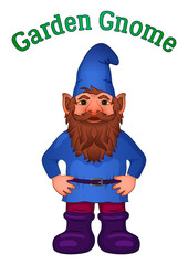 Cartoon Garden Gnome, Funny Fairy Character, Old Bearded Dwarf in Blue Cap and Big Boots, Isolated on White. Vector