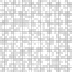 White-gray mosaic is lined with small square pieces of tiles