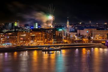 Novi Sad, Serbia - January 01, 2019: Fireworks in Novi Sad, Serbia. New Year's fireworks.
