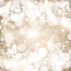 Festive winter background, beige, white circles, snowflakes, bokeh, Christmas, December, January, February, glitter