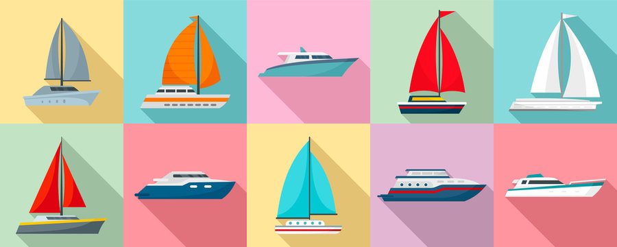 Yacht icon set. Flat set of yacht vector icons for web design
