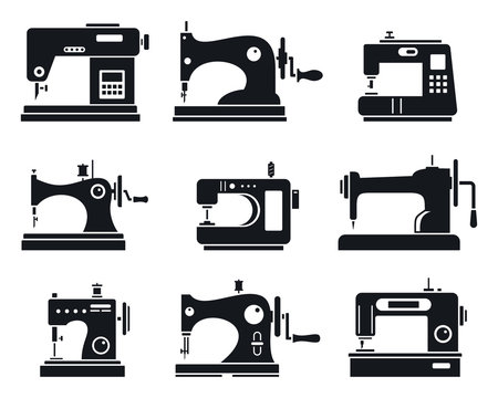 Quality sew machine icon set. Simple set of quality sew machine vector icons for web design on white background