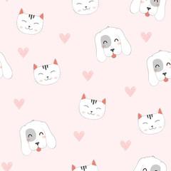 Seamless Pattern of Cute Cartoon Cat, Dog.