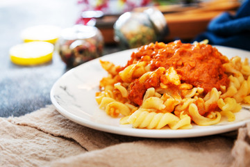 Pasta Bolognese on the table