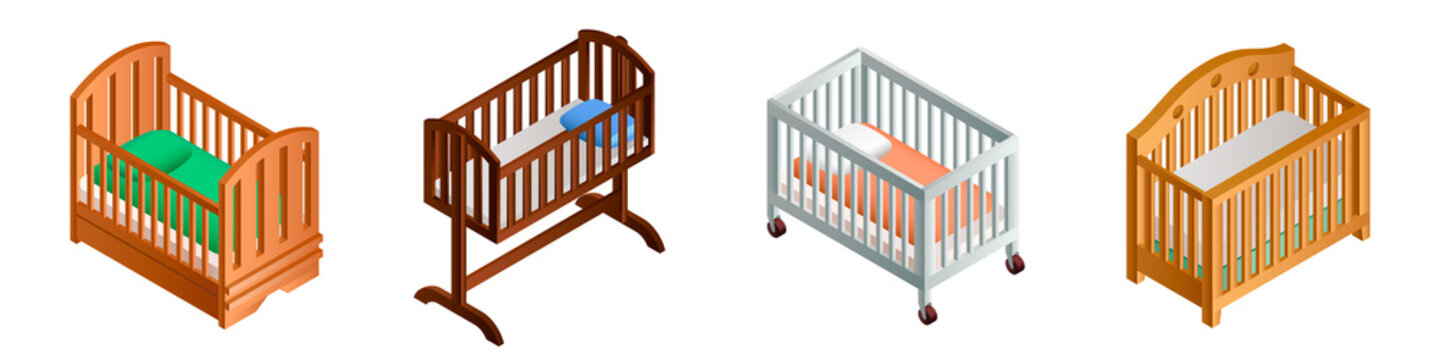 Crib icon set. Isometric set of crib vector icons for web design isolated on white background