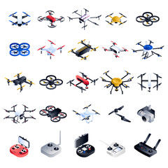 Drone icon set. Isometric set of drone vector icons for web design isolated on white background