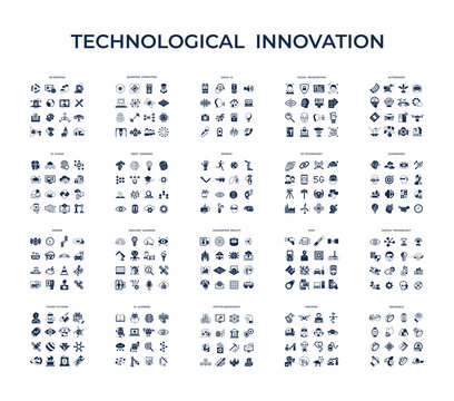 Digital vector technology icons set