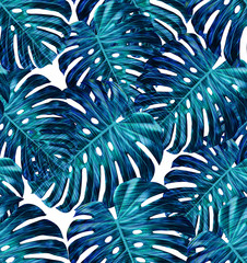 Tropical leaf design featuring blue and green monstera plant leaves on a white background. Seamless vector repeating pattern.