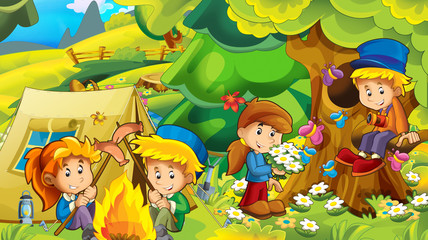 cartoon autumn nature background in the mountains with kids having fun camping with tent with space for text - illustration for children