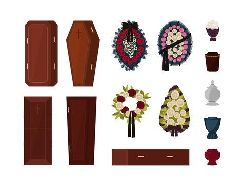 Collection of attributes for funeral, burial ceremony, mortuary rituals isolated on white background - coffin, urn, wreath, bouquet of flowers. Colorful vector illustration in flat cartoon style.