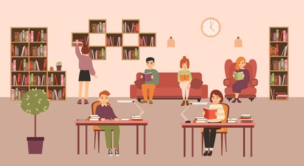 Smart people or students reading and studying at public library. Men and women sitting at desks and on sofa surrounded by shelves and racks with books. Flat cartoon colorful vector illustration.