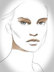 Young beautiful woman fashion-illustration watercolour draw portrait