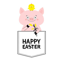 Happy Easter. Pig face head in the pocket. Chicken bird, tulip. Cute cartoon animals. Piggy piglet character. Dash line. White and black color. T-shirt design. Baby background. Isolated. Flat design.
