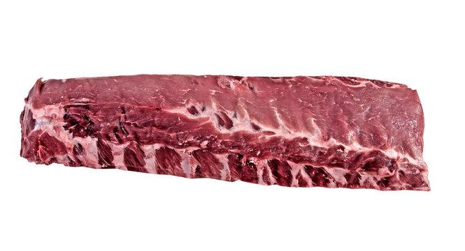 Raw fresh back ribs on a white background