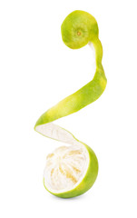 Sweetie, green grapefruit or pomelo on a white background