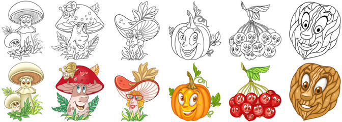 Cartoon forest and garden plants set