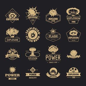 Explosion power logo icons set. Simple illustration of 16 explosion power logo vector icons for web