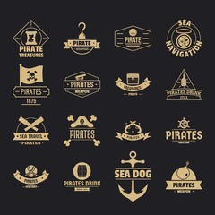 Pirate logo icons set. Simple illustration of 16 pirate logo vector icons for web
