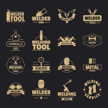 Welding logo icons set. Simple illustration of 16 welding logo vector icons for web