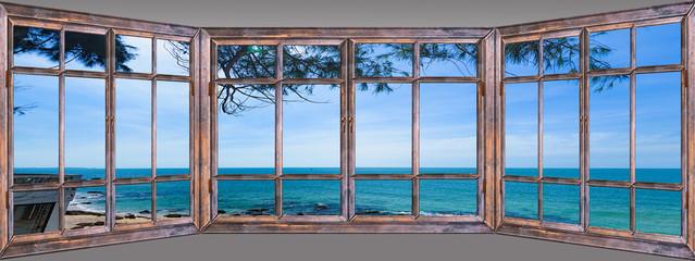 Obraz view of the window on the sea promenade - fototapety do salonu