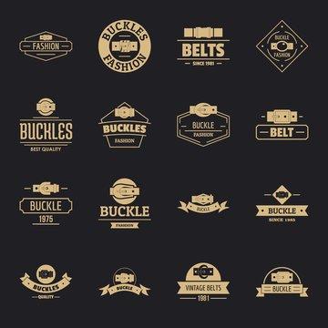 Belt buckle logo icons set. Simple illustration of 16 belt buckle logo vector icons for web