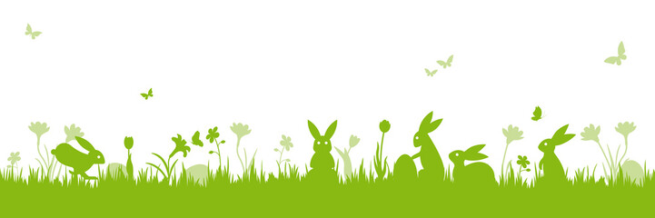 Easter holiday scene banner isolated vector illustration with bunnies on meadow