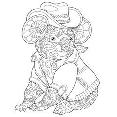 zentangle koala bear coloring page