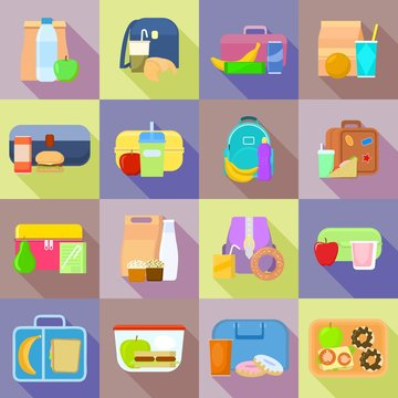 Lunchbox icon set. Flat set of lunchbox vector icons for web design