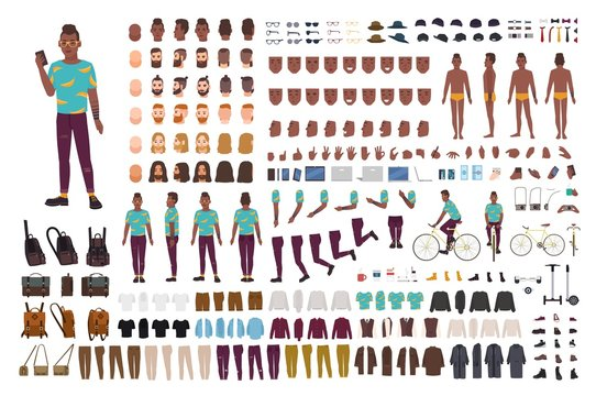 Hipster guy animation kit. African American man dressed in trendy clothes. Collection of male flat cartoon character body parts in various postures isolated on white background. Vector illustration.