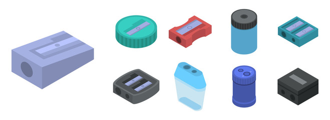Sharpener icon set. Isometric set of sharpener vector icons for web design isolated on white background