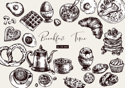 Vector vintage breakfast objects, food top view,