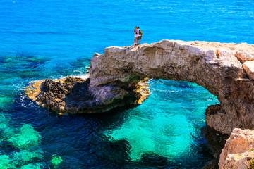 Beautiful sea of Cyprus. arch bridge (bridge of lovers) near Agia Napa