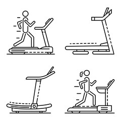 Treadmill icon set. Outline set of treadmill vector icons for web design isolated on white background