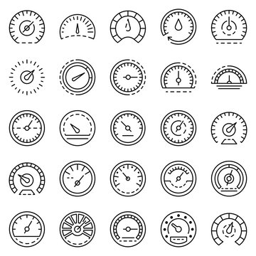 Speedometer icon set. Outline set of speedometer vector icons for web design isolated on white background