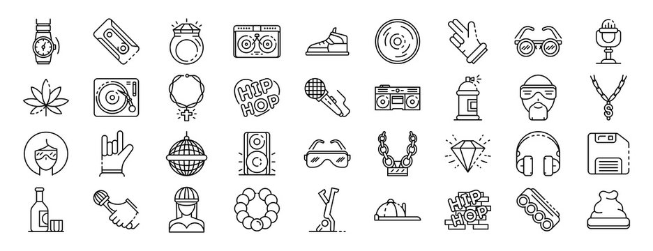 Hiphop icon set. Outline set of hiphop vector icons for web design isolated on white background