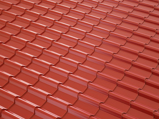 Red metal roof tiles in daylight. 3d illustration.
