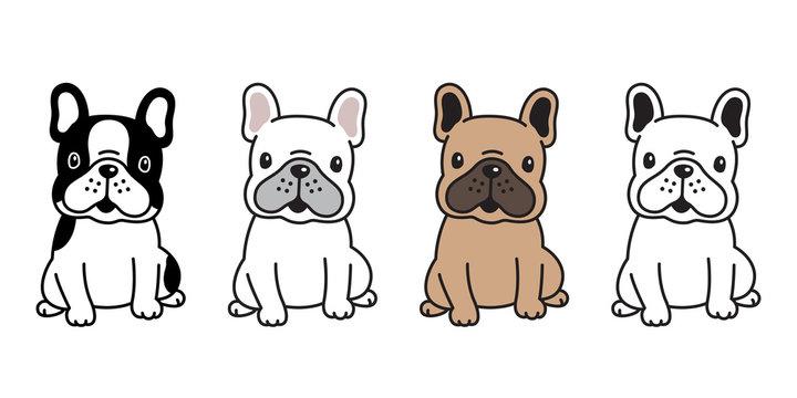dog vector french bulldog cartoon character icon sitting smile logo breed illustration